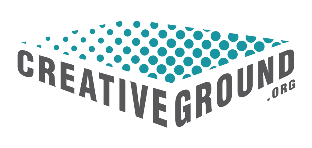 "Grey text ""Creative Ground"" with teal dotwork, making a faux-3D rectangle"